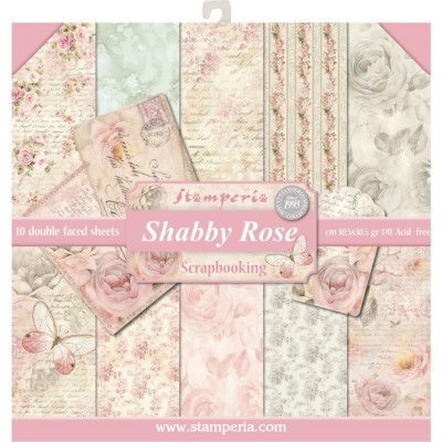 "Stamperia - Papier 12"" X 12"" «Shabby Rose», 10 feuilles double- face"