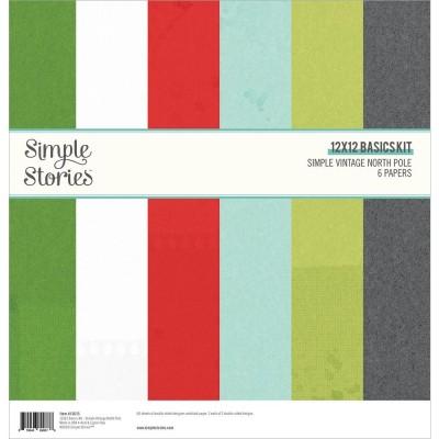 """Simple Stories - Ensemble de papier «North Pole» 12 """"X12"""" recto-verso 6 feuilles / Pqt"""