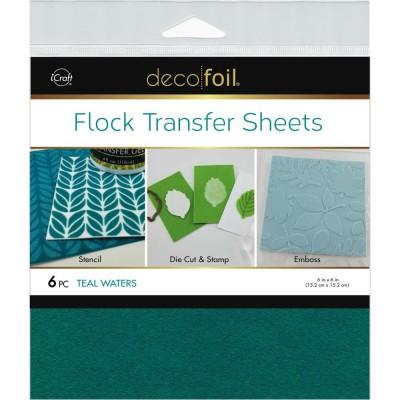 """LIQUIDATION-Deco Foil - Flock Transfer Sheets couleur «Teal Waters» 6""""X12"""" 6/Pkg  (Le prix ci-dessous est déjà réduit de 50%)"""