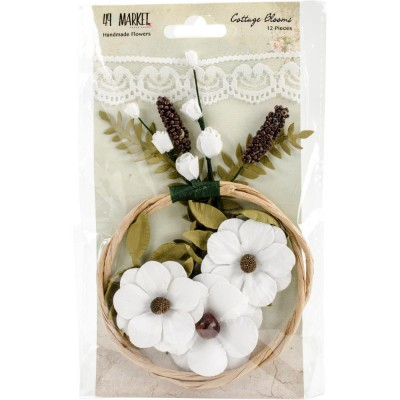 "49 & Market - Cottage Blooms 2"" modèle «Cotton» paquet de 12"