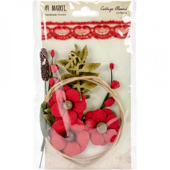 """49 & Market - Cottage Blooms 2"""" modèle «Poppy» paquet de 12"""