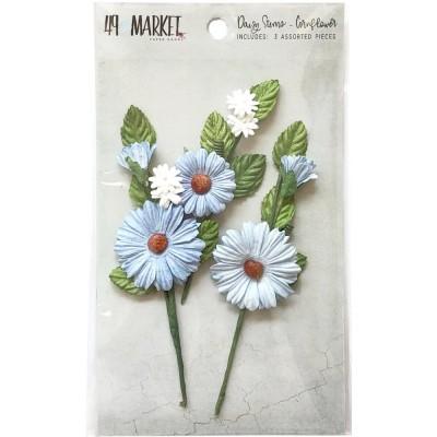 49 & Market - Daisy Stems couleur «Cornflower» 3 pièces