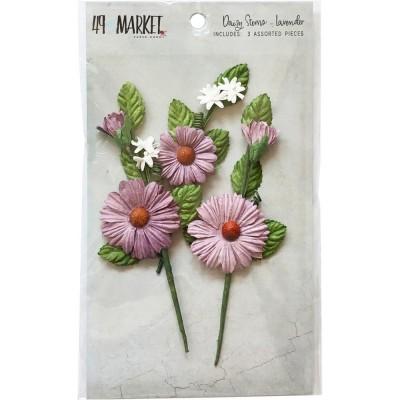 49 & Market - Daisy Stems couleur «Lavender» 3 pièces