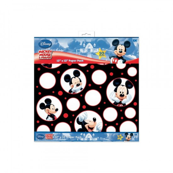 "EK Success - «Mickey Black, White & Red» ensemble de papier 10 feuilles 12"" X 12"""