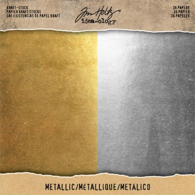 "Tim Holtz - Bloc de papier «Metallic Gold & Silver» 8"" X 8"" 36 feuilles"
