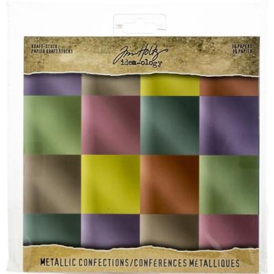 """Tim Holtz - Bloc de papier «Metallic Confections» 8"""" X 8"""" 36 feuilles"""