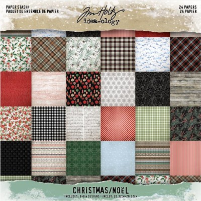 "Tim Holtz  - bloc de papier collection «Christmas» 8"" X 8"" 24 feuilles"