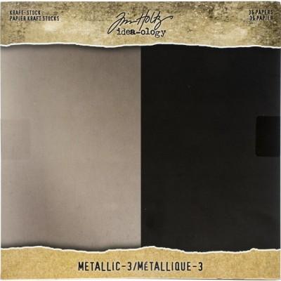 "Tim Holtz - Bloc de papier «Metallic 3» 8"" X 8"" 36 feuilles"