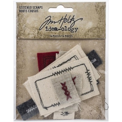 Tim Holtz - Éphéméras en tissu «Stitched Scraps» ensemble 14 pc