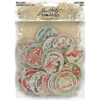 LIQUIDATION-Tim Holtz «Chipboard Milk Caps»  paquet éphémera 50 pièces (Le prix indiqué est déjà réduit à 50%)