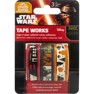 LIQUIDATION-Sandy Lion - Washi Tape couleur «Star Wars The Force Awakens» 3 rouleaux de 16'  (Le prix ci-dessous est déjà réduit de 50%)