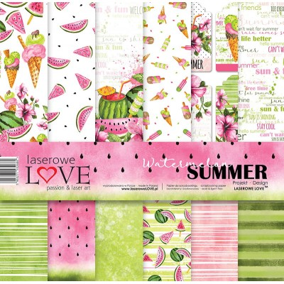 "Laserowe - Collection de papier 12"" X 12"" recto-verso 6 feuilles «Watermelon Summer»"