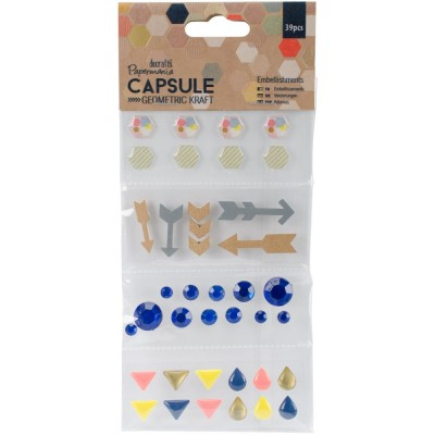 Papermania - Embellissements «Gem, Wood & Enamel Shapes» 39/Pkg