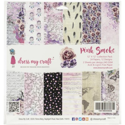 "Dress my Craft - «Pink Smoke» ensemble de 24 feuilles 12"" X 12"""