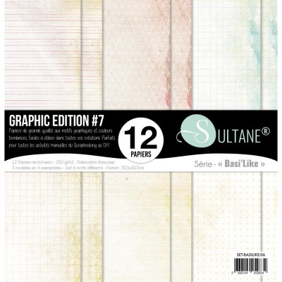 "Carabelle - «Graphic Edition #7» ensemble de papier 12 feuilles 12"" X 12"""