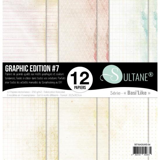 """Carabelle - «Graphic Edition #7» ensemble de papier 12 feuilles 12"""" X 12"""""""