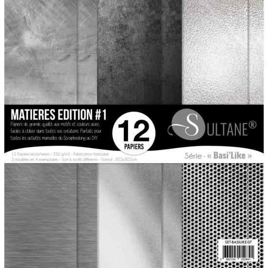 """Carabelle - «Matière #1» ensemble de papier 12 feuilles 12"""" X 12"""""""