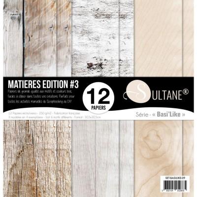 """Carabelle - «Matière #3» ensemble de papier 12 feuilles 12"""" X 12"""""""