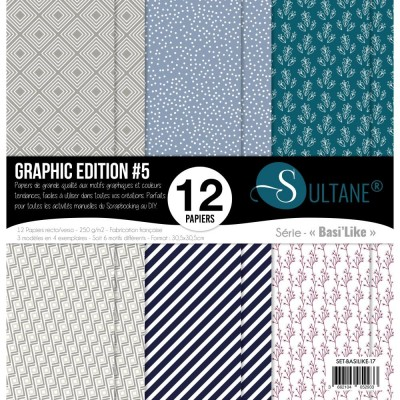 "Carabelle - «Graphic Edition #5» ensemble de papier 12 feuilles 12"" X 12"""