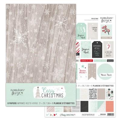 """Florilèges Design - Ensemble de papier «Cosy Christmas» 8.5"""" x 11""""  8 feuilles recto-verso"""