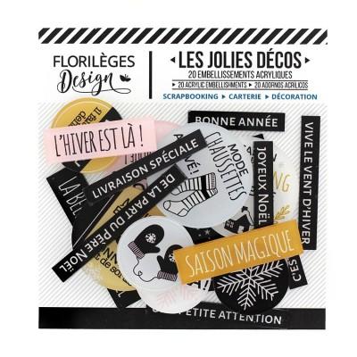 Florilèges Design - Ensemble d'éphéméras en acrylique «Saison du Cocooning» 20 pièces