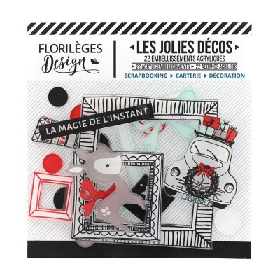 Florilèges Design - Ensemble d'éphéméras en acrylique «Magie de l'instant» 22 pièces