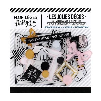 Florilèges Design - Ensemble d'éphéméras en acrylique «Parenthèse enchantée» 22 pièces