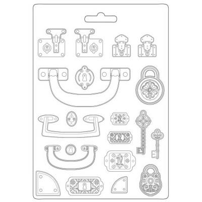 PRÉCOMMANDE- Stamperia - Moule «Stampo Maxi» modèle  «Lady Vagabond Lifestyle/Suitcase»