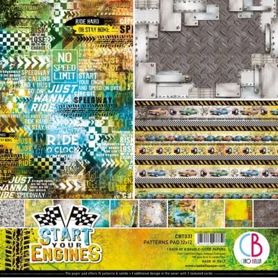 "Ciao Bella - Collection de papier 12"" X 12"" recto-verso 8 feuilles «Start Your Engines»"
