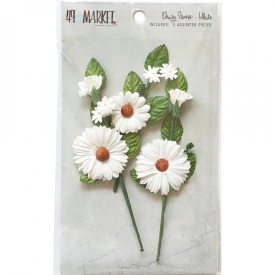 49 & Market - Daisy Stems couleur «White» 3 pièces