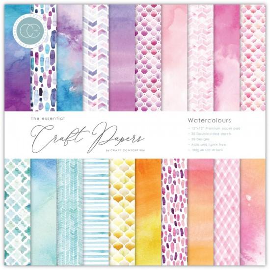 "Craft Consortium - «Watercolors» paquet de papier  12"" X 12"""