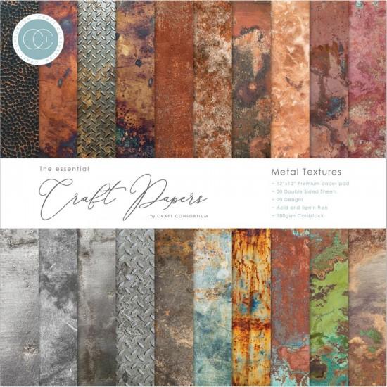 "Craft Consortium - «Metal Textures» paquet de papier  12"" X 12"" 30 feuilles"