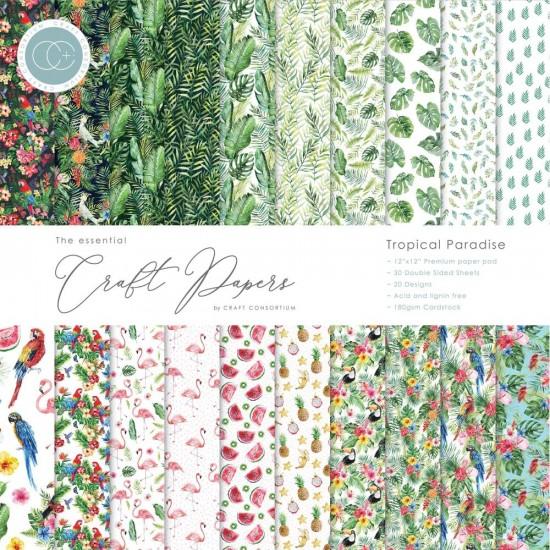 """Craft Consortium - «Tropical Paradise» paquet de papier  12"""" X 12"""" 30 feuilles"""