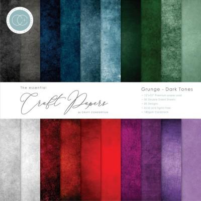 "Craft Consortium - «Grunge-Dark Tones» paquet de papier  12"" X 12"" 30 feuilles"
