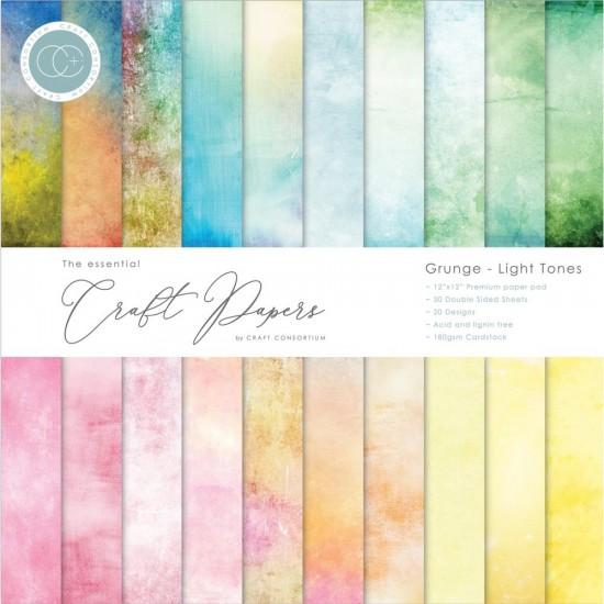 "Craft Consortium - «Grunge-Light Tones» paquet de papier  12"" X 12"" 30 feuilles"