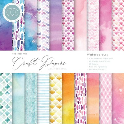 "Craft Consortium - «Watercolors» paquet de papier  6"" X 6"""