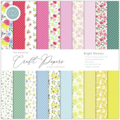 "Craft Consortium - «Bright Blooms» paquet de papier  12"" X 12"""