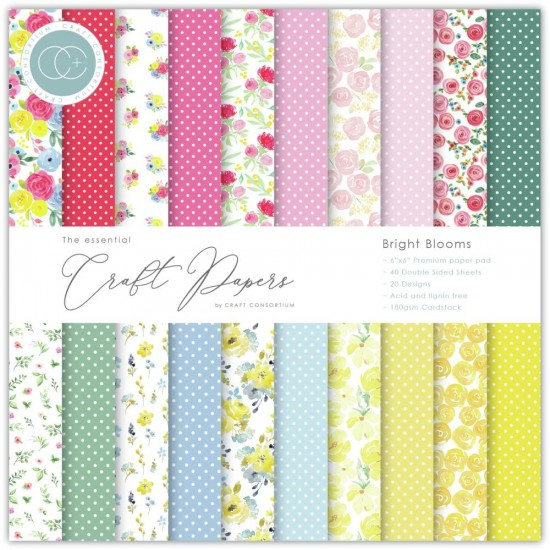 "Craft Consortium - «Bright Blooms» paquet de papier  6"" X 6"""