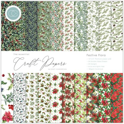 """Craft Consortium - «Festive Flora» paquet de papier  12"""" X 12"""""""