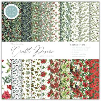 """Craft Consortium - «Festive Flora» paquet de papier  6"""" X 6"""""""