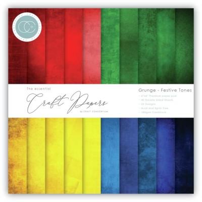 """Craft Consortium - «Grunge Festive Tones» paquet de papier  6"""" X 6"""""""