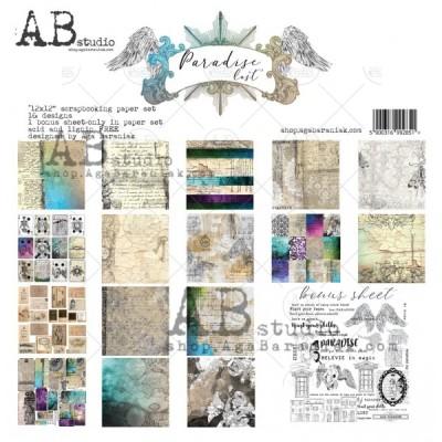 """AB Studio - Ensemble de papier «Paradise Lost» 12 """"X12"""" recto-verso 12 feuilles / Pqt"""