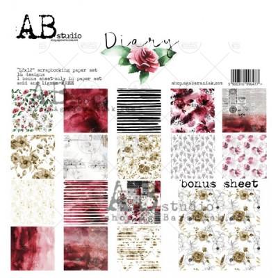 "AB Studio - Ensemble de papier «Diary» 12 ""X12"" recto-verso 12 feuilles / Pqt"