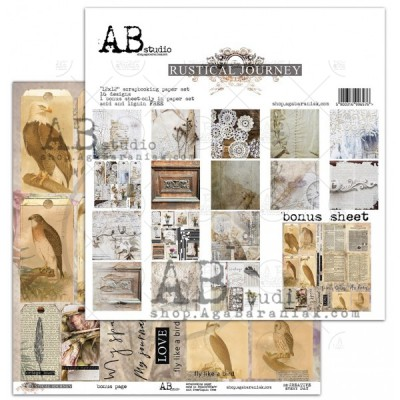 "AB Studio - Ensemble de papier «Rustical Journey» 12 ""X12"" recto-verso 12 feuilles / Pqt"