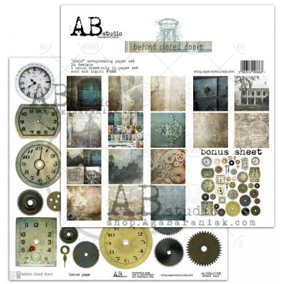 "AB Studio - Ensemble de papier «Behind closed doors» 12 ""X12"" recto-verso 12 feuilles / Pqt"