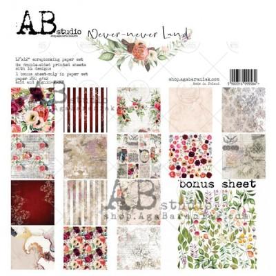 """AB Studio - Ensemble de papier «Never-never land» 12 """"X12"""" recto-verso 12 feuilles / Pqt"""