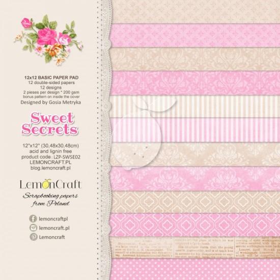 """Lemoncraft - """"Sweet Secrets"""" ensemble de papier  12 feuilles 12"""" X 12"""""""