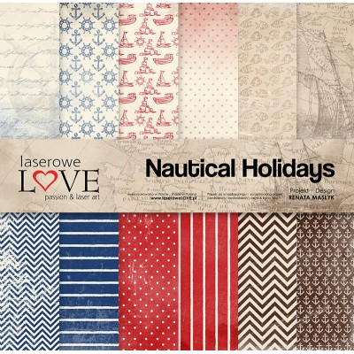 "Laserowe - Collection de papier 12"" X 12"" recto-verso 6 feuilles «Nautical Holidays»"