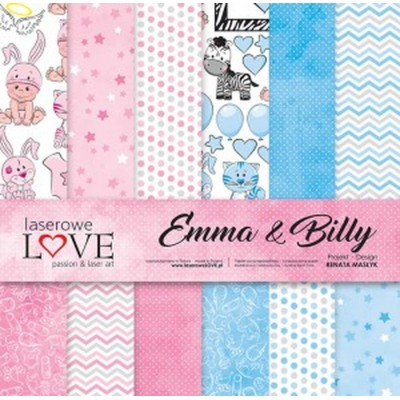 "Laserowe - Collection de papier 12"" X 12"" recto-verso 6 feuilles «Emma et Billy»"
