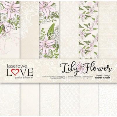 """Laserowe - Collection de papier 12"""" X 12"""" recto-verso 6 feuilles «Lily Flower»"""